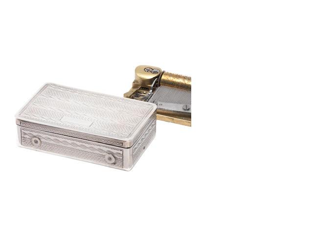An Austrian silver cased musical snuffbox, circa 1840,