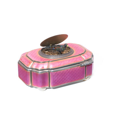 A silver and pink enamel cushion-form singing bird box, probably by Farjoulet, circa 1920,