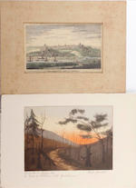 A collection of prints including a Snaffles print of The Gunner, a view and key map of the battle of Waterloo by William Heath (Paul Pry) a collection of etchings of views of London and views of France, 13 views on the Thames at Chelsea, Battersea, Hammersmith, and Harriot Goldsmith, four views of Claremont, etchings 1819, wrappers. (unframed)