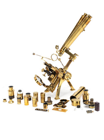 A Powell & Lealand brass compound monocular/binocular microscope,  English,  dated 1861,