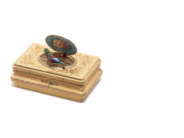 An exceptional silver-gilt and enamel singing bird box, by Jacques Bruguier, circa 1830,