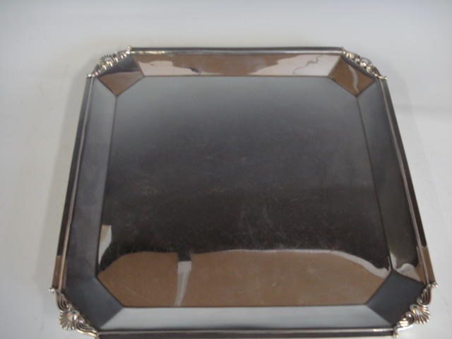 A silver square salver by Atkin Bros., Sheffield 1932