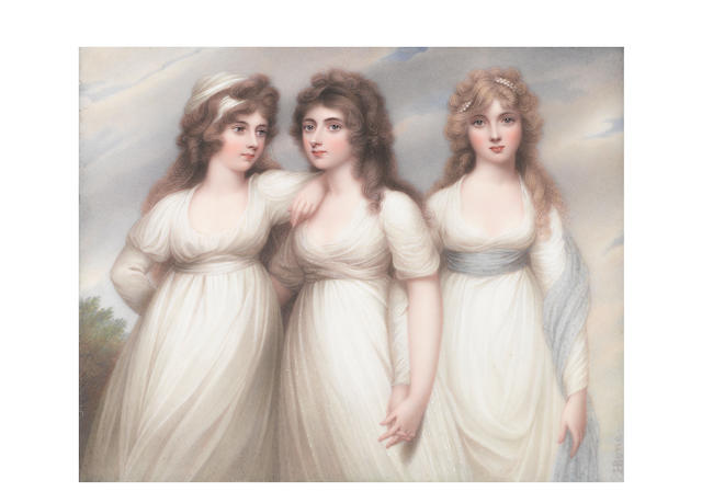 Henry Bone, R.A. (British, 1755-1834) 'The Three Graces', The Ladies Rushout: Anne (d.1849), Harriet (d.1851) and Elizabeth (1774-1862), standing together, wearing white muslin dresses; Harriet, centre, in semi embrace with Anne on her right, holding hands with Elizabeth on her left, wearing spotted gauze dress; Anne, wearing a white bandeau; Elizabeth, wearing a pale blue sash around her waist and left arm, her fair hair dressed with a strand of pearls
