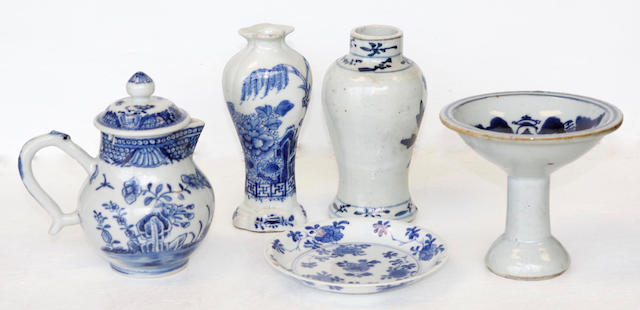 A group of Chinese blue and white export wares, 18th century and later