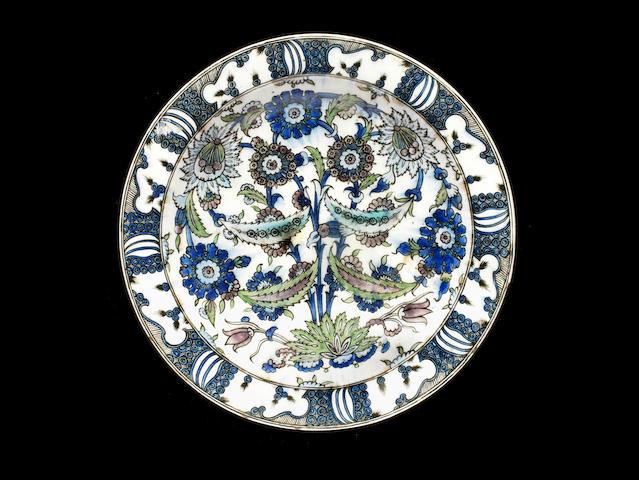 A Qajar Iznik style underglaze-painted pottery Dish  Persia, 19th Century