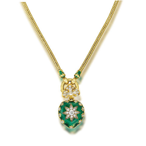 A gold, enamel and diamond necklace,