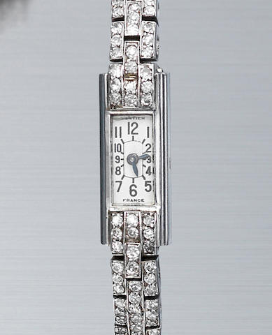An art deco diamond bracelet watch, by Cartier