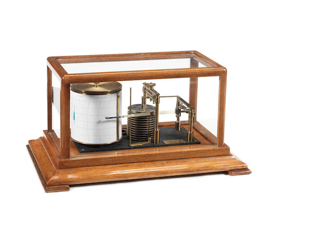 A cased seven day recording Barograph,