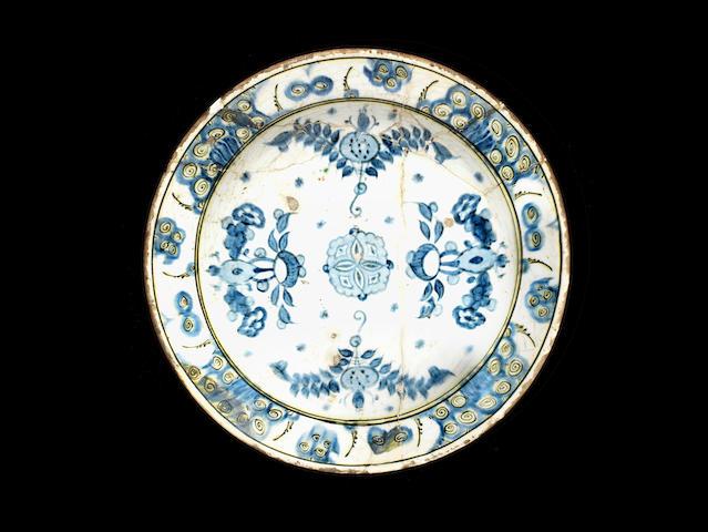 An Iznik blue and white pottery Dish Turkey, late 16th Century