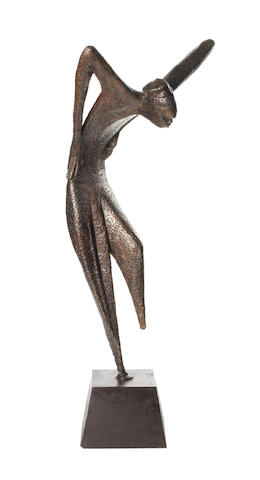Bunmi Babatunde (Nigerian) 'Bata Dancer' 99cm (39in) high (excluding base).