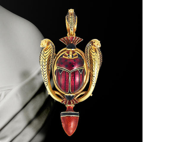 An archaeological revival gold and enamel brooch/pendant, by Robert Phillips,