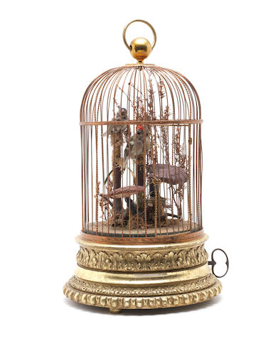 A good double singing birds-in-cage, by Phalibois, circa 1890,