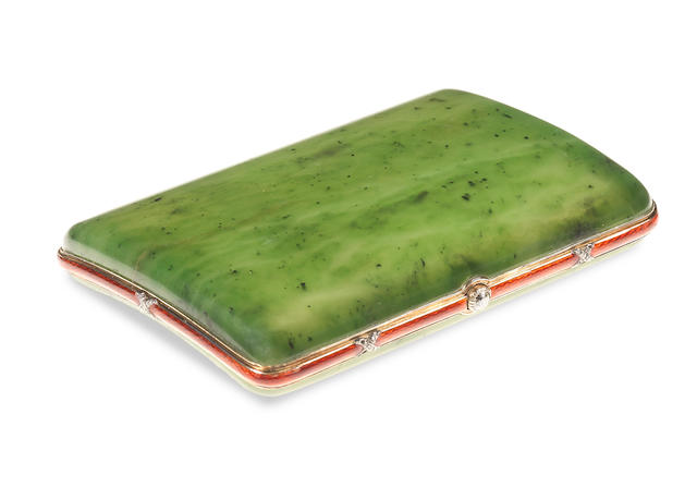 A diamond-set and gold-mounted enamelled nephrite cigarette case