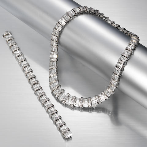 A diamond necklace and bracelet suite,  by Graff (2)