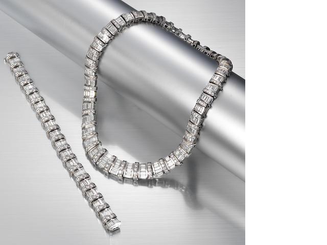 A diamond necklace and bracelet suite,  by Graff (2)