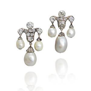 A pair of 19th century natural pearl and diamond earrings