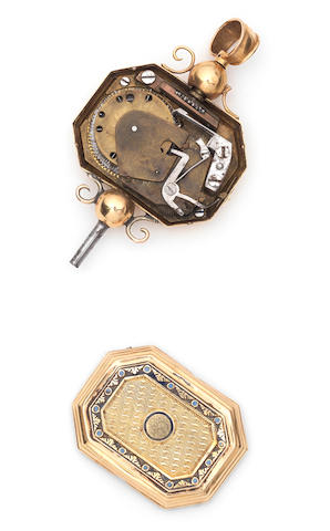 A fine gold and petit-enamel musical key, Swiss, circa 1810,