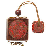 An unusual carved red lacquer saya inro The saya by Yosei, 18th century