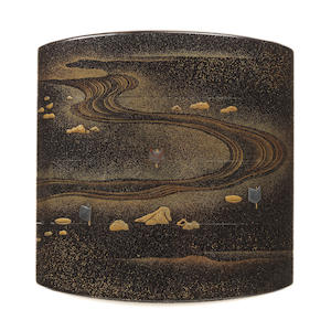 Lacquer 3-case inro of a stream Kanshosai