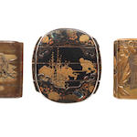 A group of 3 older lacquer inro