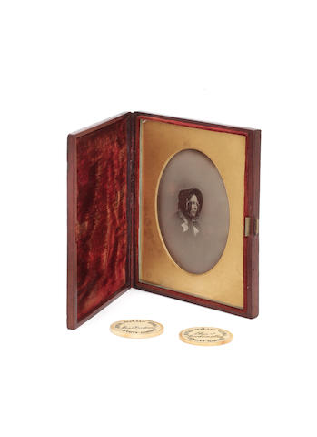 Mayall, A daguerreotype portrait of Catherine Dickens, 1853-55, together with two Italian Opera passes.