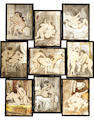 A set of nine extremely erotic glass magic lantern slides, French, circa 1880,