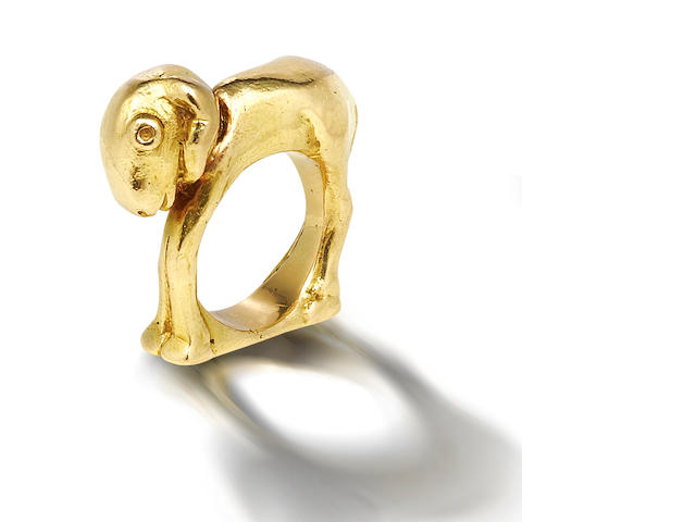 A gold ring, by Mosheh Oved,
