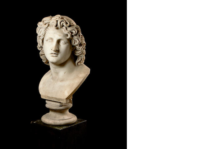 After the Antique: A marble composition bust of Meleagre