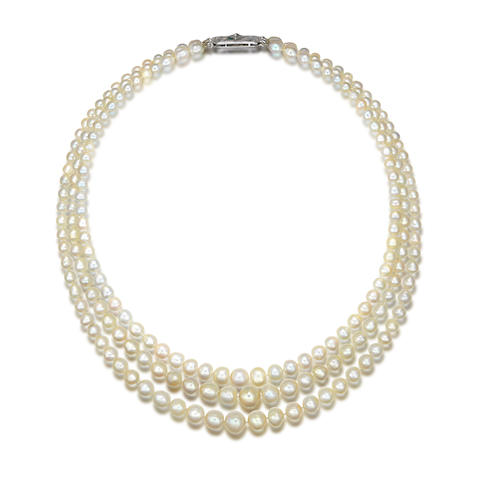 A triple-row natural pearl necklace