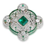 A belle époque emerald and diamond brooch/pendant,