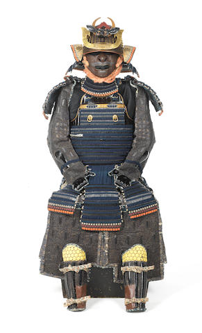 A blue-laced tachi do tosei gusoku armour The armour, late Edo Period, 19th century, the helmet, mid Edo Period, late 17th century