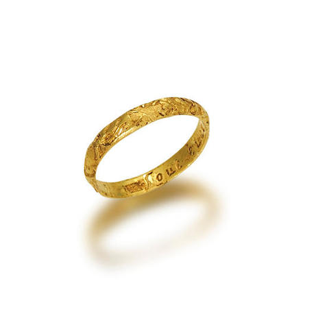 A 17th century gold posy ring