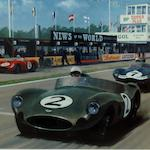 'Aston Martin World Champions', signed limited edition print after Keith Woodcock,