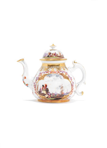 A Meissen teapot and cover, circa 1728-30
