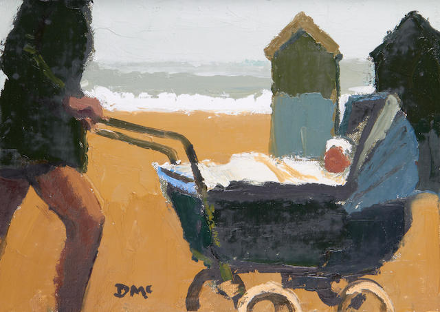 Donald McIntyre (British, 1923-2009) 'Beach huts and pram'