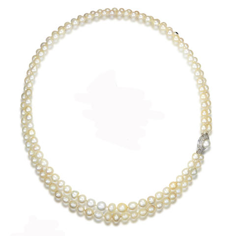 A double strand pearl necklace,
