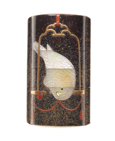 An inlaid black lacquer five-case inro By Hara Yoyusai, 19th century