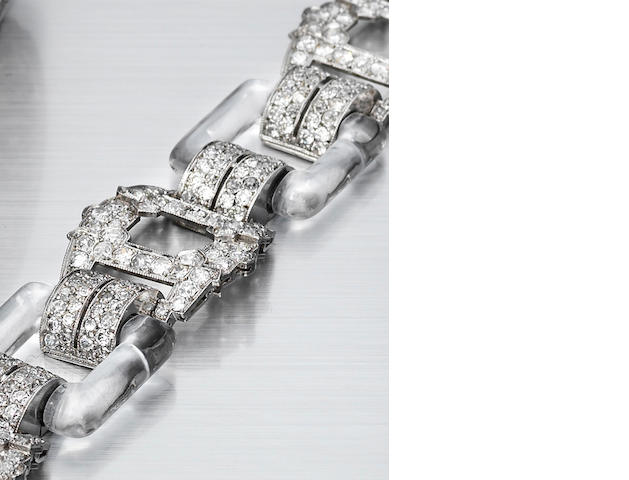 A diamond and rock crystal bracelet