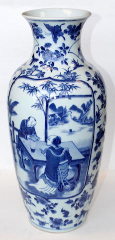 A Chinese blue and white baluster vase, 19th century