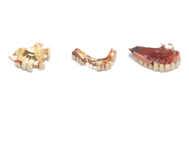 Three pairs of 18ct gold mounted false teeth, late 19th century,