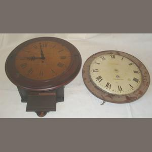 "James Wood - Dorchester:  a 19th Century mahogany circular dial wall clock, the 12"" circular brass dial with Roman and Arabic chapter to single fusee movement, lacks door and pendulum, together with a 19th Century dismantled inlaid mahogany short case wall clock, the painted enamel dial signed 'Thos Gibbs Stratford', single fusee movement with square lead weight, lacking parts, case overall 112cm. (2)"