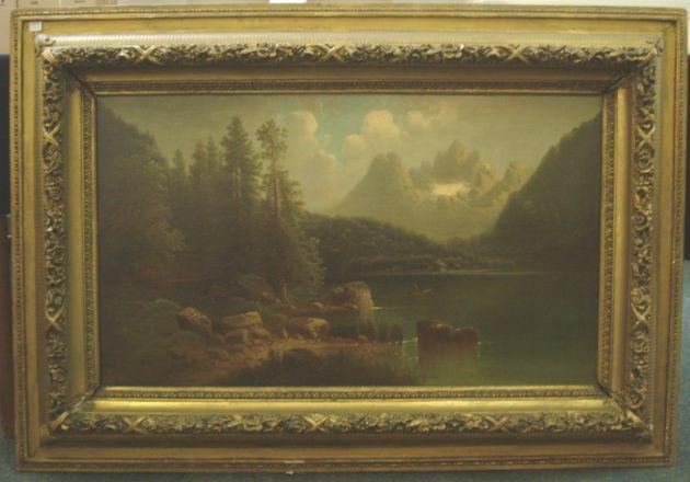 Virbicky (Austrian, 19th Century) An Alpine Lake 51 x 89cm.
