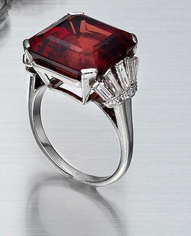 An art deco spinel and diamond ring,