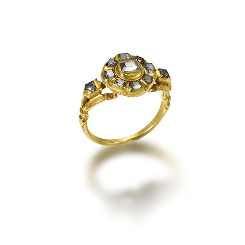 A gold and diamond ring, probably Portuguese,