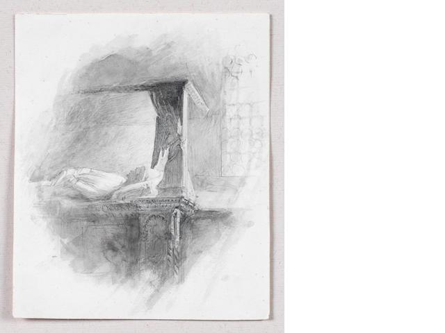 John Ruskin (British, 1819-1900) Sketch of the tomb of Andrea Dandolo
