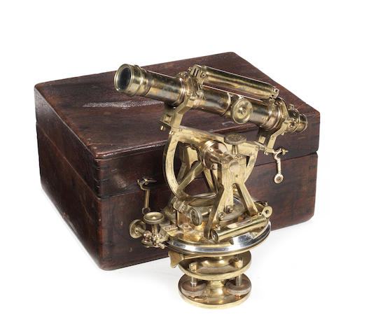 A Troughton & Simms brass Everest-type theodolite,  English,  mid 19th century,