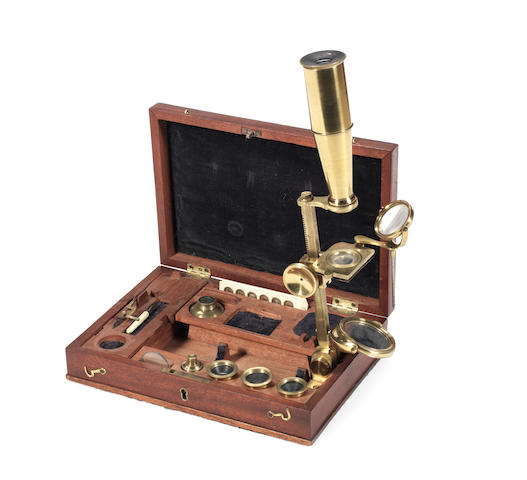 A Robert Huntley compound monocular microscope,  English,  1825-1829,