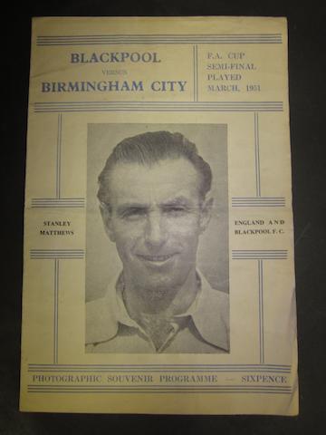 1951 F.A. Cup final souvenir programme Blackpool v Birmingham City