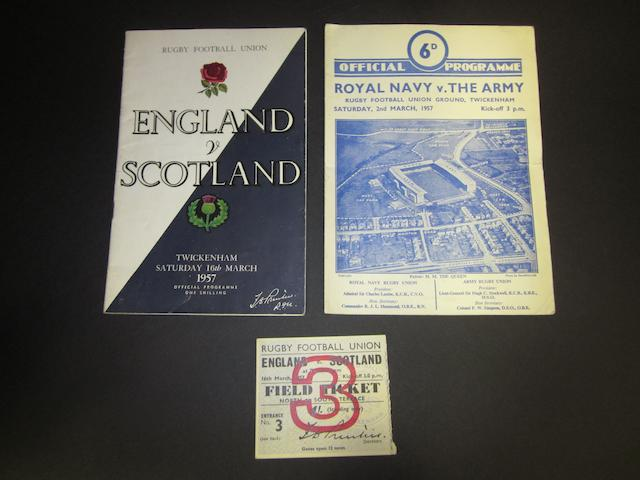 1957 England v Scotland programme and ticket