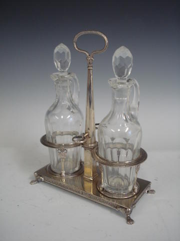 A late 19th century continental oil and vinegar bottle cruet unmarked, circa 1890